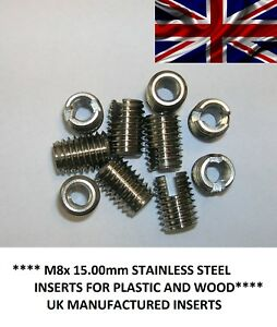 M8x 15.00mm Stainless Steel Self tapping insert thread repairing metal threads