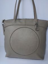Coach beige/ grey leather handbag