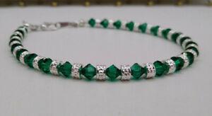 Swarovski Crystal Emerald Bicone & Silver Rondel Beaded Anklet or Bracelet