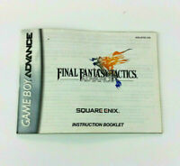 Final Fantasy Tactics Nintendo Game Boy Advance Instruction Manual Book Only