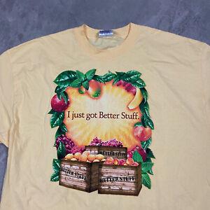 90s VTG SNAPPLE PROMO DOUBLE SIDED XL Just Got Better Stuff T Shirt Peach Fruit