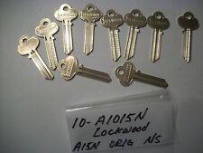 Locksmith LOT of 10, Vintage Key Blanks for LOCKWOOD A1015N, Original, NS