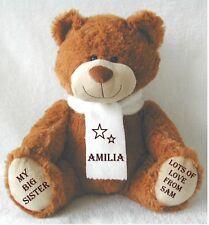 Personalised Brown Teddy Bear EXCLUSIVE 34cm Top to toe BIG/LITTLE SISTER
