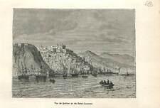 Vue de Québec et du fleuve Saint-Laurent Canada  en 1758 GRAVURE 1883