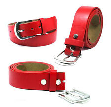 """Snap On Red Leather Belt With Removable Silver Buckle - Size M 33""""-37"""""""