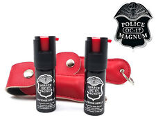 2 Police Magnum pepper spray .50oz red keychain holster self defense protection