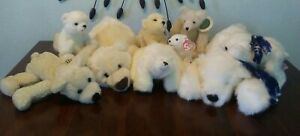 RETIRED LOT Polar Bear Green Mountain Bolton TY Russ Target Gund Teddy Plush HTF