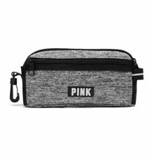 Victoria's Secret Pink Pencil Pouch Cosmetic Makeup Bag Marl Gray
