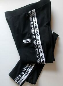 Adidas Originals Black Leggings Size US XS UK 6 Side Tape Logo 28L