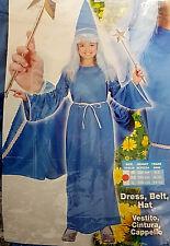 Fatina Smemorina Azzurra Cappello Vestito Costume Carnevale 8-10 Anni 140cm