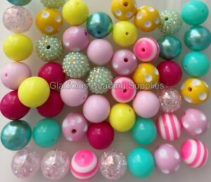 20mm Red Blue and Gray Speckled Print Chunky Bubblegum Round Beads 10pcs Acrylic Chunky Beads Gumball Beads