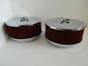 """CHROME 6 3/8"""" MUSCLE CAR STYLE DUAL QUAD AIR CLEANER SET""""RED""""4 bbl#2292CH/RD-2"""
