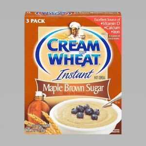 (2 Boxes) Cream of Wheat Instant Hot Cereal MAPLE BROWN SUGAR Flavor 3-Pack 1/22