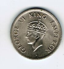 1947 India 1/4 Quarter Rupee coin