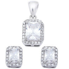 Emerald Cut & Round White Cz  .925 Sterling Silver Earring & Pendant Jewelry set