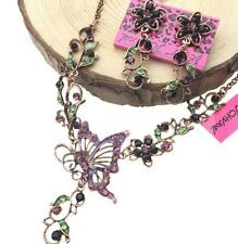 Sets Jewelry Betsey Johnson Charm Hollow Flower Butterfly Earrings and Necklace
