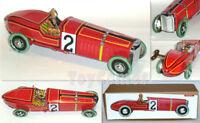 MS808 Red Vintage German Race Car  Retro Clockwork Wind Up Tin Toy w/Box