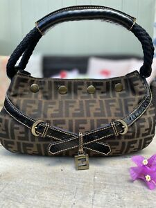 Authentic Fendi Zucca Rope Hobo Tobacco Satchel Bag🌺Rare!