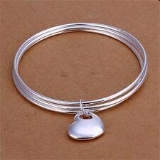 Fashion Women Silver Plating Three Layers Hanging Heart Bangle Bracelet Gift JL