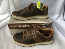 NEW Mens SKECHERS Moreno Winsor Dark Brown LEATHER Oxford Shoes AUTHENTIC 11M
