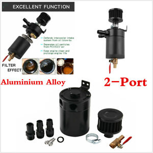 Car Engine 2-Port Oil Catch Can Tank Reservoir With Drain Valve+Breather Filter