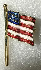 Enamel Red White Blue Gold Tone Usa Flag Patriotic Pin Brooch