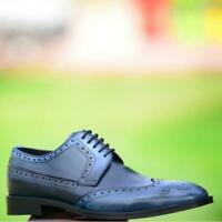 Mens Lace Up Handmade Calf Skin Derby Boots Wing Toe Dress Shoes Two Tone Blue