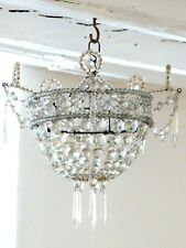 1900 Gorgeous French Ceiling Crystal prisms Beaded Antique Chandelier RARE