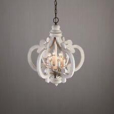 Vintage Weathered Wood 6-Light Chandelier Living Room White Candlebra Chandelier