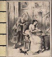 C1830 Georgiano Stampa ~ Scena Lady Presso Scrivania Crone Attacco Con Pugnale