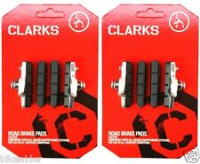CLARKS (2xPAIRS) 55mm Road Chrome Cartridge Brake Shoes & FREE Pads Insert CP240