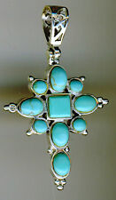 """925 Sterling Silver Turquoise Cross Pendant    Length 1.1/4"""" without bail"""