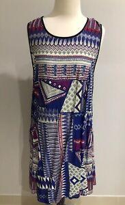 BNWT Orientique Women's Summer Tunic Dress Geometric Blue White Size 10 Fits 12