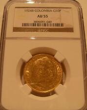 Colombia 1924B Gold 10 Pesos NGC AU-55 Simon Bolivar
