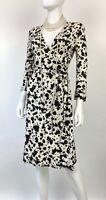 Diane von Furstenberg New 4 US 40 IT S Black Ivory Knit Silk Wrap Dress Runway
