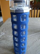 Ello Syndicate BPA-Free Glass Water Bottle with Flip Lid BLUE