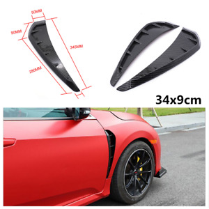 2Pcs ABS Car Fender Air Wing Vent Side Trimmings 3D Sticker Protection Strips