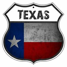 Texas Country Flag Novelty Highway Shield Man Cave Aluminum Metal Sign