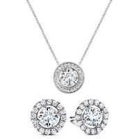 White Gold Plated Made with Swarovski Crystals Necklace and Earring Set ITALY