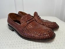 MARCO EVANI Men's Size 9 Brown Woven/Weave Leather Loafers Made in Italy