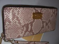 NEW MICHAEL KORS LADIES TRAVEL CONTINENTAL EMBOSSED LEATHER DK SAND