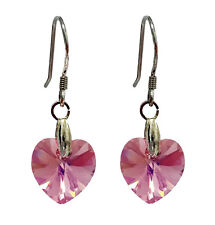 Sterling Silver 925 Earrings Made with Swarovski Elements Heart Light Rose 10mm