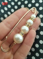 Large Gold Safety Diamante Pin 4 Pearls Scarf Clothes Crystal Kilt Brooch