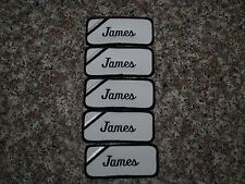 (5) James Embroidered Name Tag-Patch Sew on/ Iron on New