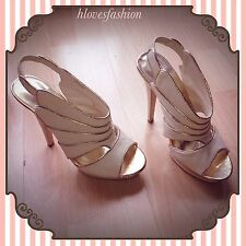 ✨👠NEWLOOK Cream Gold Piping Platform High Heel Shoes UK 6 EU39 US8 FAST&🆓📮👠✨