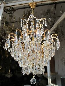 Antique Vnt French Spider Style Crystal Chandelier Lamp Light 1940's 16in Ø dmtr