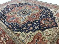 14 x 18 Navy Blue Rust Serapi Persian Oriental Rug Oversized Hand Knotted Wool