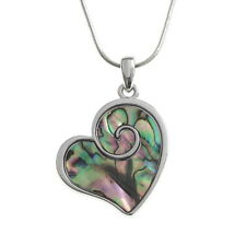 Blue Green Abalone / Paua Shell Heart Swirl Pendant Silver Chain Necklace