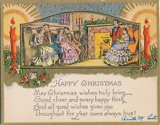 1920-1929 Art Deco Happy Christmas Home Scene & Candles Embossed Card
