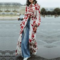 2019 High Quality Women's Floral Print Red Long Sleeve Maxi Dress Cardigan